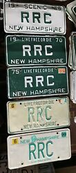 Vintage 1969-1999 New Hampshire License Plate Nh Lot Of 5 Same Letters Rrc