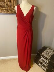 Chaps Cardinal Red Long Stretch Party Dress 12 Washable