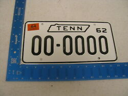 1962 62 1965 65 Tennessee Tn License Plate Tag Sample 00-0000 Kc