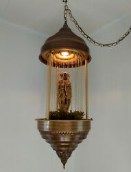 Vintage 1970's Hanging Oil Rain Lamp With The Rare 3 Gold Goddess Statue.