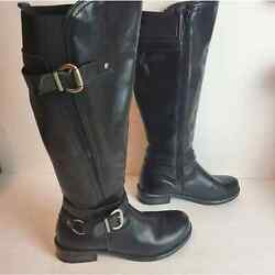 Eric Michael Black Leather Riding Boots 38 7.5 8 $49.00