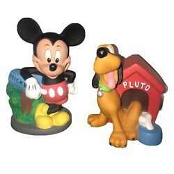 Disney Mickey Mouse And Pluto Hard Plastic Coin Piggy Banks