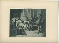 Antique Death Of Cleopatra Snake Augusts Caesar Sorrow Mourning Old Art Print