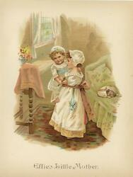 Antique Victorian Girl Child Playing Mother White Dress Puppy Dog Flowers Print