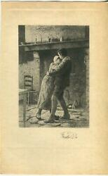 Antique Country Rustic Farm House Fireplace Cat Kitten Cat Sleeping Love Print