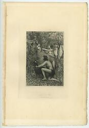 Antique Artistic Nude Woman Black Sheep Forest Nature Slightly Distressed Print