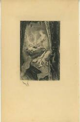 Antique Man Bedroom Dreaming Deer Stag Antlers Apparition Remarque Etching Print