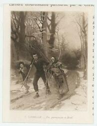 Antique Victorian Man Boy Carrying Timber Wood For Christmas Miniature Print
