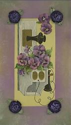Vintage Pansy Flowers Old Telephone Art Aesthetic Collage Watercolor Border