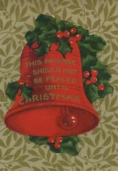 Antique Red Bell Holly Berry Berries Christmas Sticker Small Art Color Old Print
