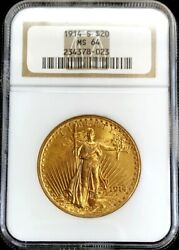 1914 S Gold 20 Saint Gaudens Double Eagle Coin Ngc Mint State 64