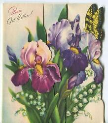 Vintage Mid Century Purple Mauve Iris Lily Of The Valley Butterfly Garden Card