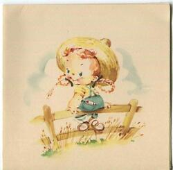 Vintage Cute Girl Redhead Farm Girl Fence Straw Hat Chewing Wheat Picture Print