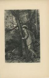 Antique Handsome Victorian Man Gazing On Woman In House From Trees Woods Print