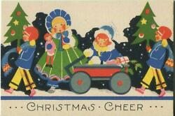 Antique 1920's Christmas Art Deco Children Trees Doll Lithograph Greeting Card