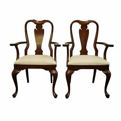 Set Of 2 Cresent Furniture Solid Cherry Traditional Queen Anne Dining Arm Chair