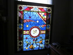 1 C.1890 Aesthetic Antique Stained Glass Window 16 Large Jewels And Roundels