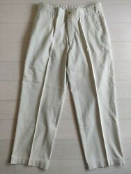 Bills Khakis Made In Usa Ivory Off White Flat Front Twill Chinos Size 33x29