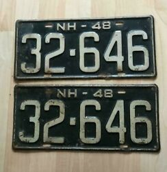 Vintage 1948 New Hampshire License Plate 32-646 Nh Steel Tag Matching Set Pair