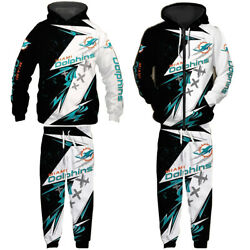 Miami Dolphins Fans Sports Tracksuit Pullover Zip Hoodie Jogging Pants Sweatsuit