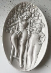 Pinup Ceramic Risque Dish Naughty Farmer Wife Double Sided Vintage Ashtray