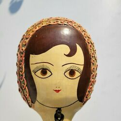 Vtg Gemma Taccogna Style Signed Paper Mache Doll Face Hand Mirror 22 In