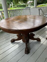 Antique Oak Carved Lion's Heads + Claw Feet Table 1 Leaf + 4 Chairs Superb