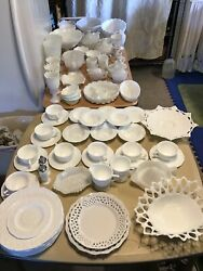 80 Piece Lot Collection Of Milk Glass Fenton, Westmoreland, Indiana Glass