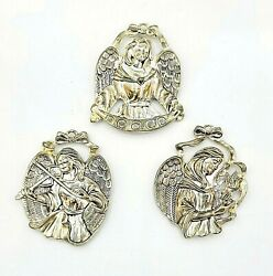 Gorham Sterling Silver Plated Angel Christmas Ornaments Lot Of 3