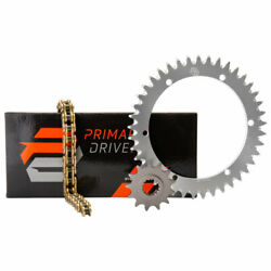 Primary Drive Alloy Kit And Gold X-ring Chain Silver Rear Sprocket