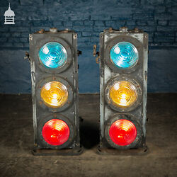 Pair Of Vintage Three-aspect Colour-light Railway Signals By Westinghouse Brake
