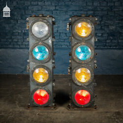 Pair Of Vintage Four-aspect Colour-light Railway Signals By Westinghouse Brake And