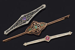 Antique 14k And 10k Gold Emerald, Amethyst And Pink Paste Art Deco Bar Brooch Pins