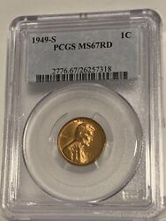 1949 S Lincoln Wheat Cent 1c Pcgs Ms 67rd Red Ravishing