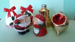 Xmas Mr And Mrs Santa Claus, Ornaments, Bells 3 Sets Salt And Pepper Shakers
