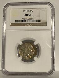 1919 S 5c Buffalo Nickel Five Cents Certified Ngc Au53 Us Mint Coin