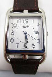 Classic Hermes Stainless Steel Cape Cod 29mm White Dial Wrist Watch - Cc2-710