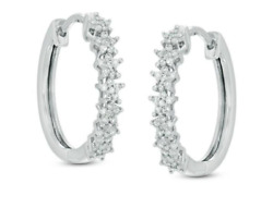 2.50ct Natural Round Diamond I-j,si1 Hoop Engagement Earring 14k White Gold