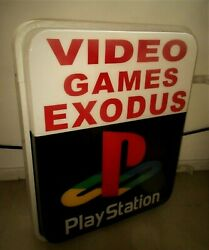 Vintage Original Playstation Videogame Lighted Advertising Sign Sony Concole