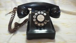 Vintage Bell System By Western Electric 302 Black Rotary Desk Phone F1