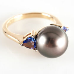 14k Yellow Gold Round Tahitian Pearl Solitaire Ring W/ Tanzanite Accents .62ctw