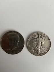 Half Dollar 1974 And 1939 Auction Lot Silver Bullion Currency Collection