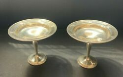 """Antique Pair Of Sterling Silver Compotes 6"""" Tall"""