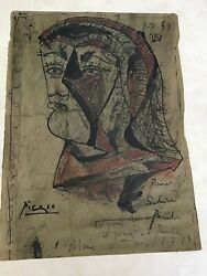 Vintage Picasso Painting Of A Bust Of A Person Signed And Dated 7.7.59