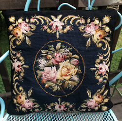 """Beautiful Vintage Needlepoint Floral Wool Throw Accent Velvet Back Pillow 16"""""""