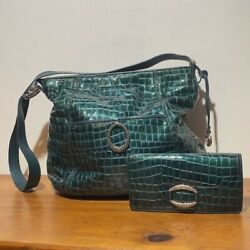 Vintage 2 Piece Brighton Womens Green Leather Alligator Purse And Wallet One Size