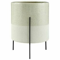 Brand – Rivet Mid-century Ceramic Planter With Iron Stand 18.9h Pale Green