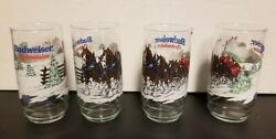 Budweiser Clydesdales 1995 Beer Glasses Vintage Holiday Christmas Set Of 4