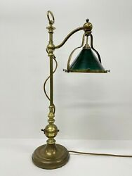 Antique Brass Table Desk Lamp Adjustable Green Glass Shade Electric