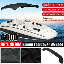 4 Bow Boat Bimini Top Replacement Canvas Cover 600d Zipper Waterproof No Frame